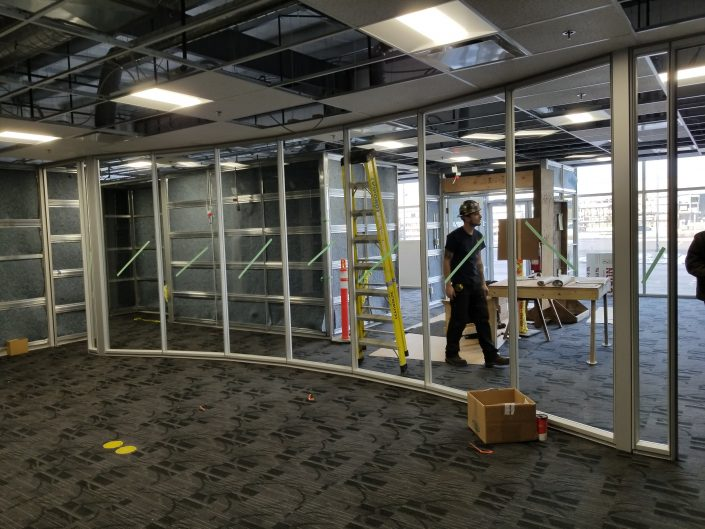 Curved board room glass frames
